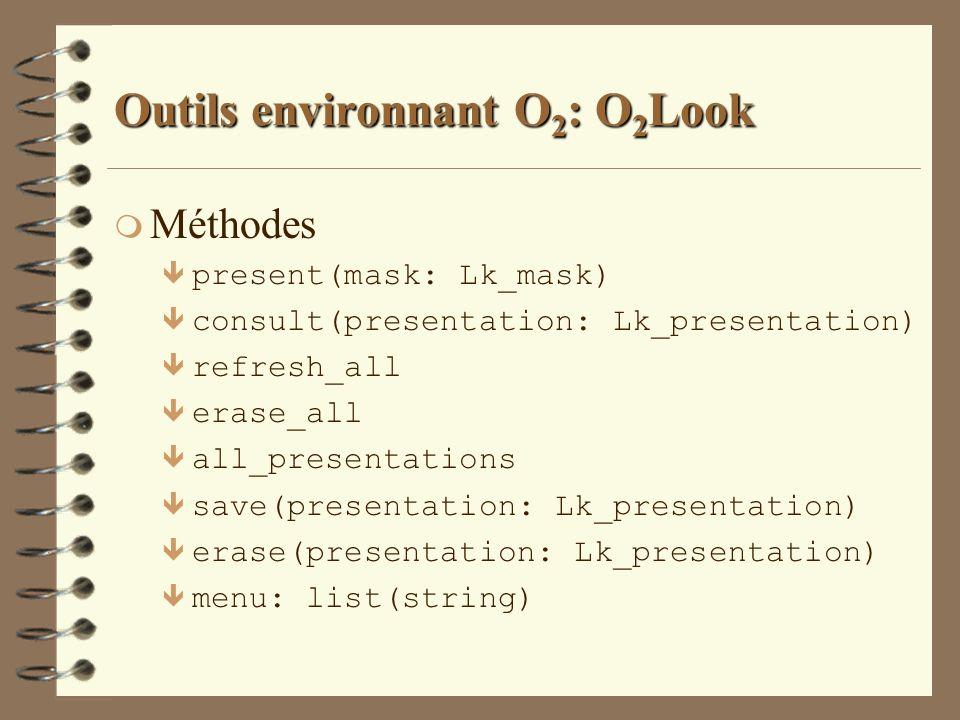 Outils environnant O 2 : O 2 Look m Méthodes ê present(mask: Lk_mask) ê consult(presentation: Lk_presentation) ê refresh_all ê erase_all ê all_present