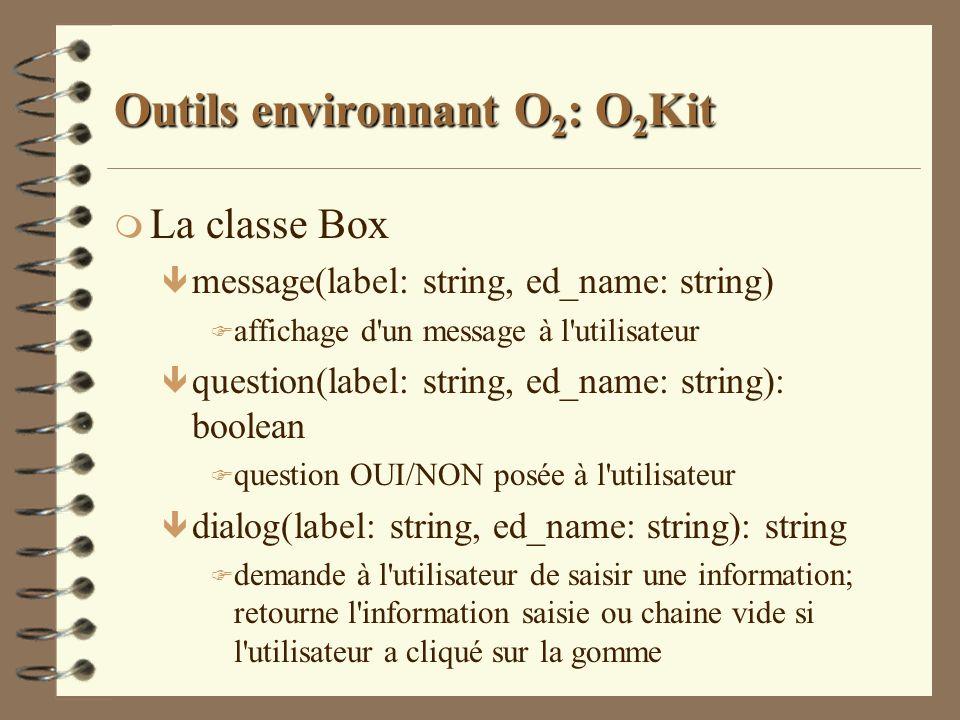 Outils environnant O 2 : O 2 Kit m La classe Box ê message(label: string, ed_name: string) F affichage d'un message à l'utilisateur ê question(label: