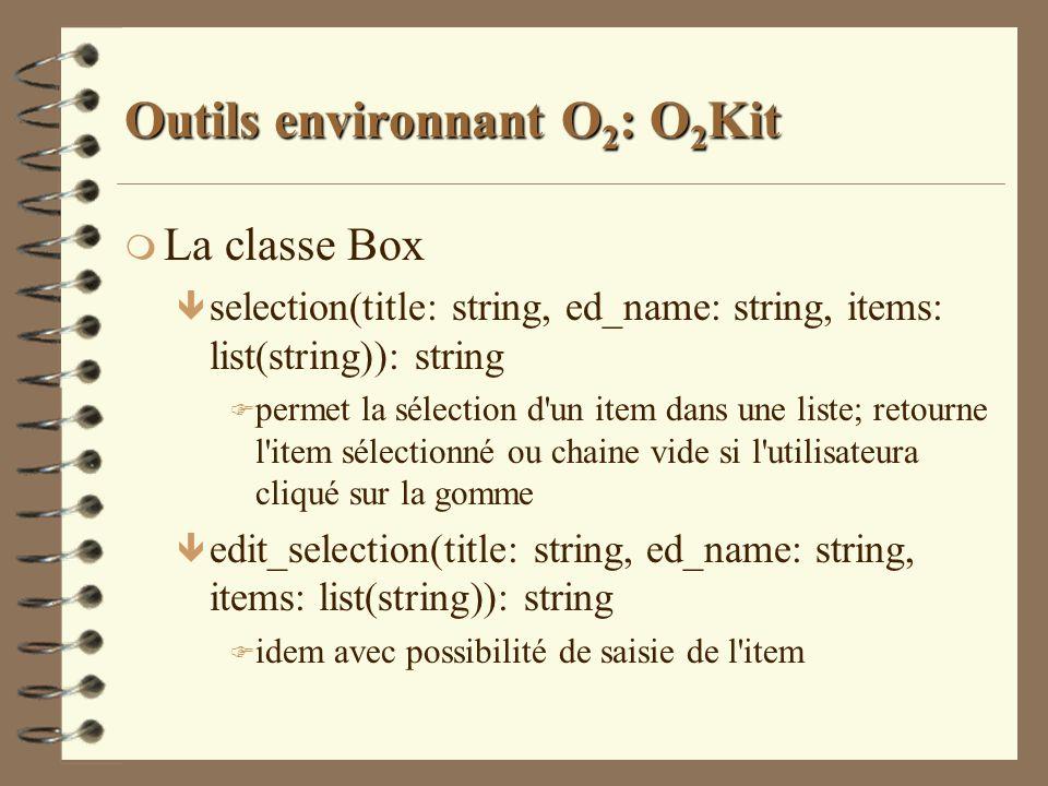 Outils environnant O 2 : O 2 Kit m La classe Box ê selection(title: string, ed_name: string, items: list(string)): string F permet la sélection d'un i