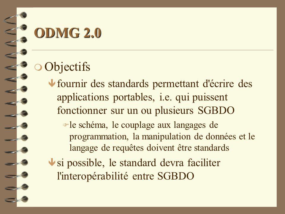ODMG 2.0 m Objectifs ê fournir des standards permettant d'écrire des applications portables, i.e. qui puissent fonctionner sur un ou plusieurs SGBDO F
