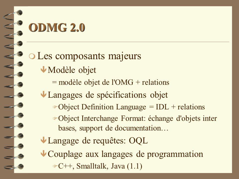 ODMG 2.0 m Les composants majeurs ê Modèle objet = modèle objet de l'OMG + relations ê Langages de spécifications objet F Object Definition Language =