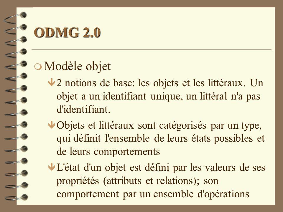 ODMG 2.0 m Modèle objet ê 2 notions de base: les objets et les littéraux. Un objet a un identifiant unique, un littéral n'a pas d'identifiant. ê Objet