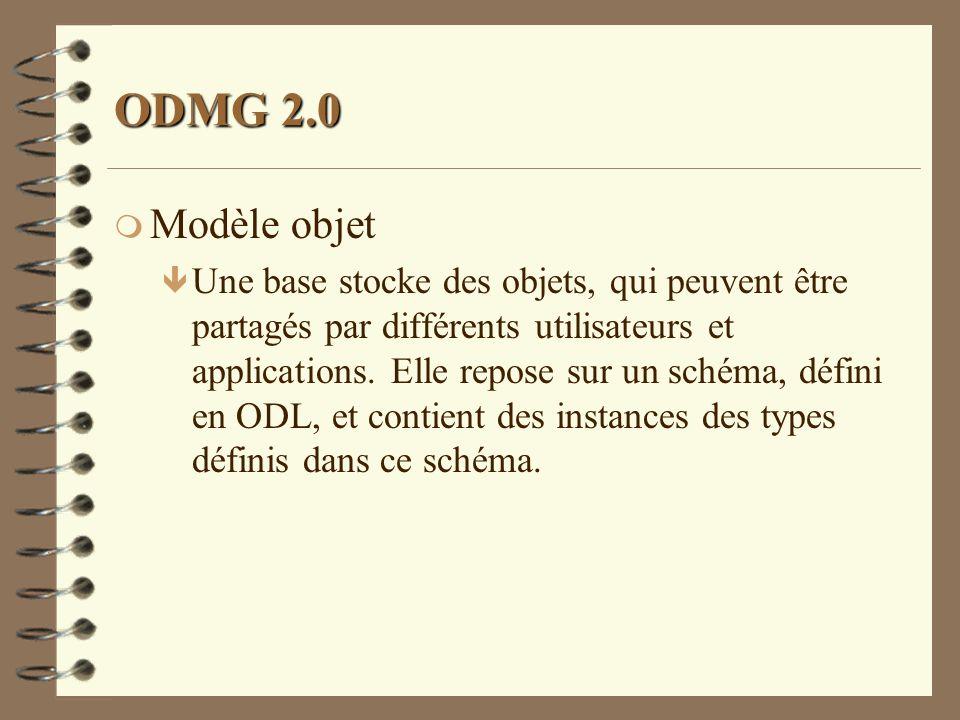 ODMG 2.0 m Modèle objet ê Une base stocke des objets, qui peuvent être partagés par différents utilisateurs et applications. Elle repose sur un schéma