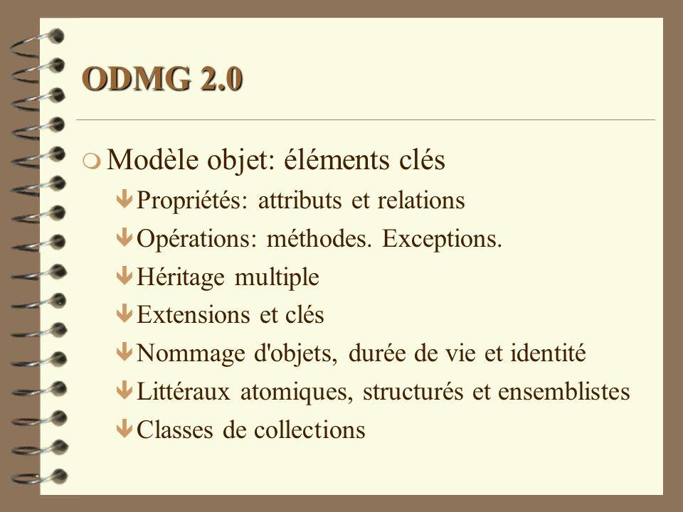ODMG 2.0 m Modèle objet: éléments clés ê Propriétés: attributs et relations ê Opérations: méthodes. Exceptions. ê Héritage multiple ê Extensions et cl