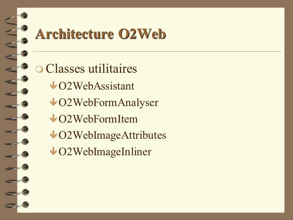 Architecture O2Web m Classes utilitaires ê O2WebAssistant ê O2WebFormAnalyser ê O2WebFormItem ê O2WebImageAttributes ê O2WebImageInliner