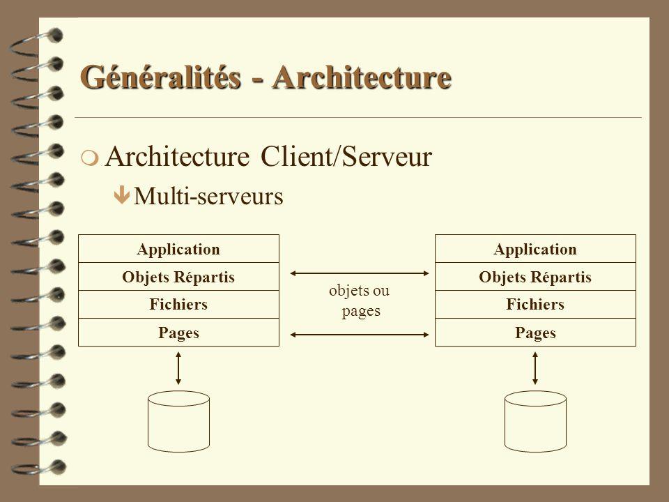 Généralités - Architecture m Architecture Client/Serveur ê Multi-serveurs Objets Répartis Fichiers Pages Application Objets Répartis Fichiers Pages Ap