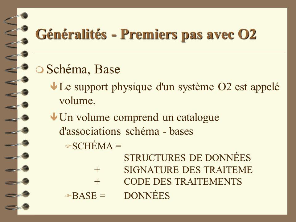 Généralités - Premiers pas avec O2 m Schéma, Base ê Le support physique d'un système O2 est appelé volume. ê Un volume comprend un catalogue d'associa