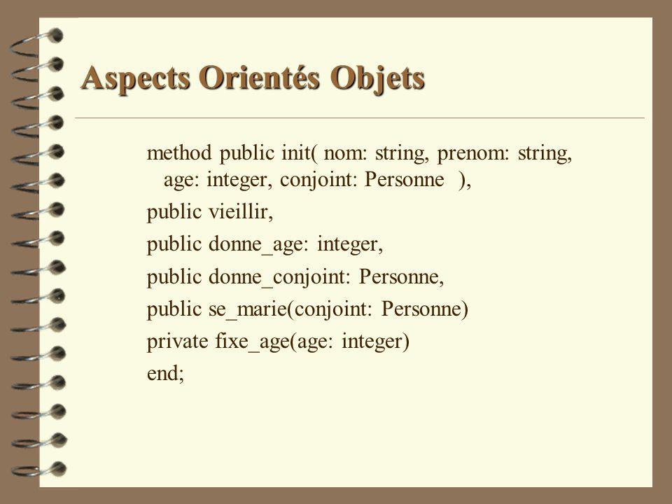 Aspects Orientés Objets method public init( nom: string, prenom: string, age: integer, conjoint: Personne ), public vieillir, public donne_age: intege