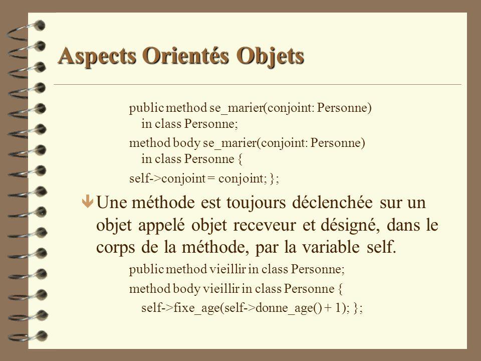 Aspects Orientés Objets public method se_marier(conjoint: Personne) in class Personne; method body se_marier(conjoint: Personne) in class Personne { s