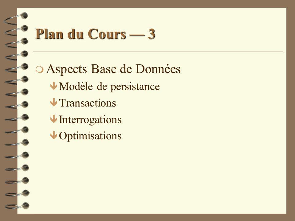 Plan du Cours 3 m Aspects Base de Données ê Modèle de persistance ê Transactions ê Interrogations ê Optimisations