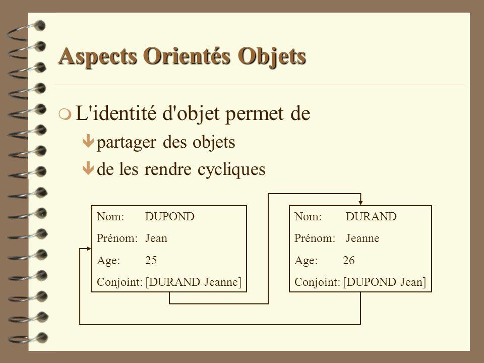 Aspects Orientés Objets m L'identité d'objet permet de ê partager des objets ê de les rendre cycliques Nom:DUPOND Prénom:Jean Age:25 Conjoint:[DURAND
