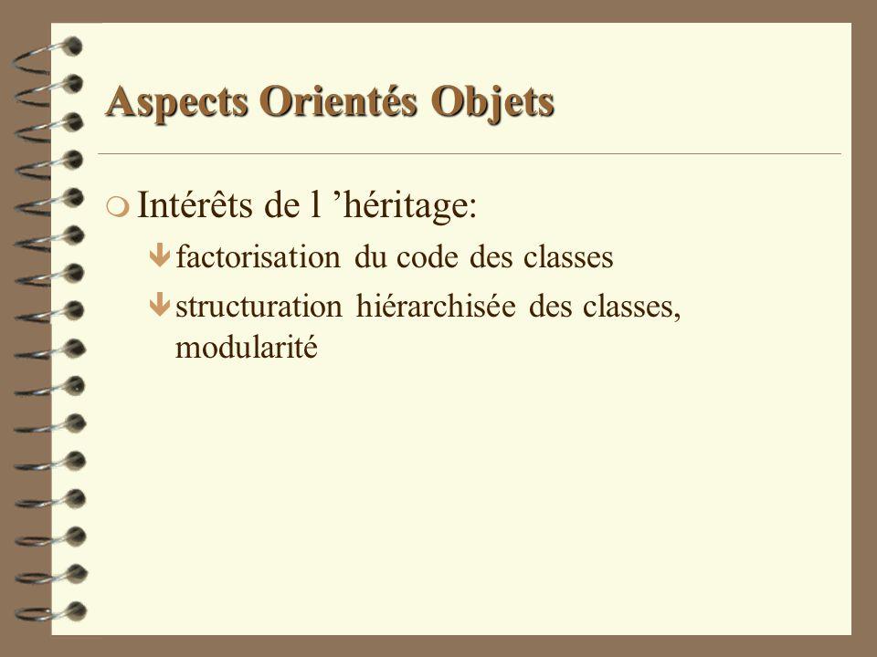 Aspects Orientés Objets m Intérêts de l héritage: ê factorisation du code des classes ê structuration hiérarchisée des classes, modularité