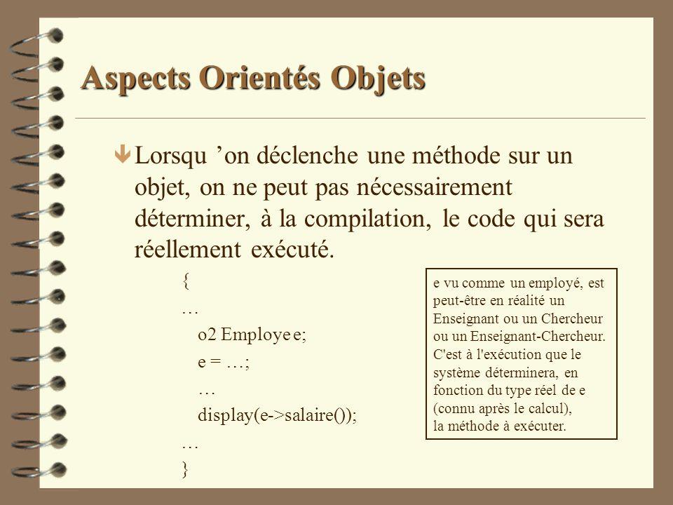 Aspects Orientés Objets ê Lorsqu on déclenche une méthode sur un objet, on ne peut pas nécessairement déterminer, à la compilation, le code qui sera r