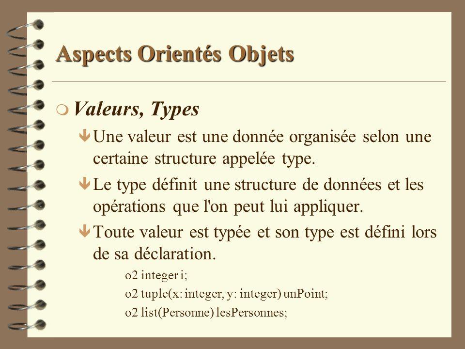 Aspects Orientés Objets m Valeurs, Types ê Une valeur est une donnée organisée selon une certaine structure appelée type. ê Le type définit une struct