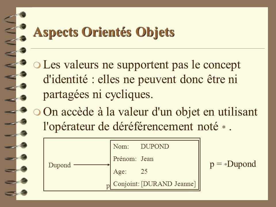 Aspects Orientés Objets m Les valeurs ne supportent pas le concept d'identité : elles ne peuvent donc être ni partagées ni cycliques. m On accède à la