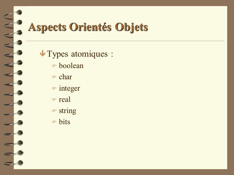 Aspects Orientés Objets ê Types atomiques : F boolean F char F integer F real F string F bits