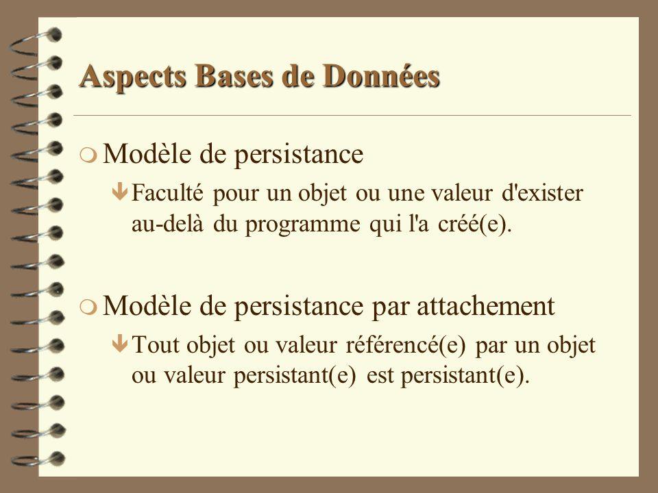 Aspects Bases de Données m Modèle de persistance ê Faculté pour un objet ou une valeur d'exister au-delà du programme qui l'a créé(e). m Modèle de per