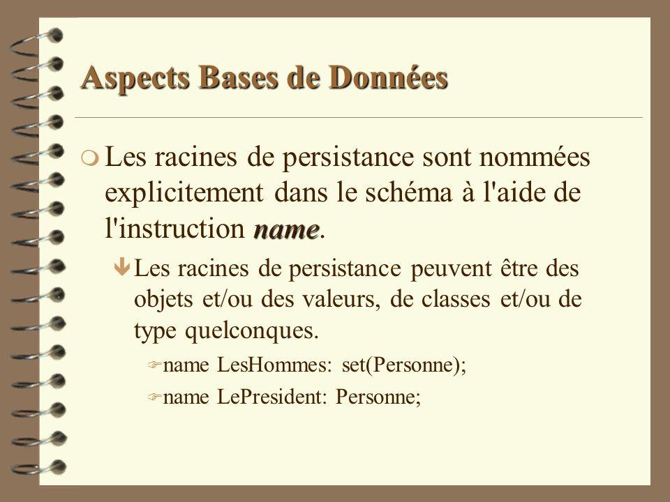 Aspects Bases de Données name m Les racines de persistance sont nommées explicitement dans le schéma à l'aide de l'instruction name. ê Les racines de