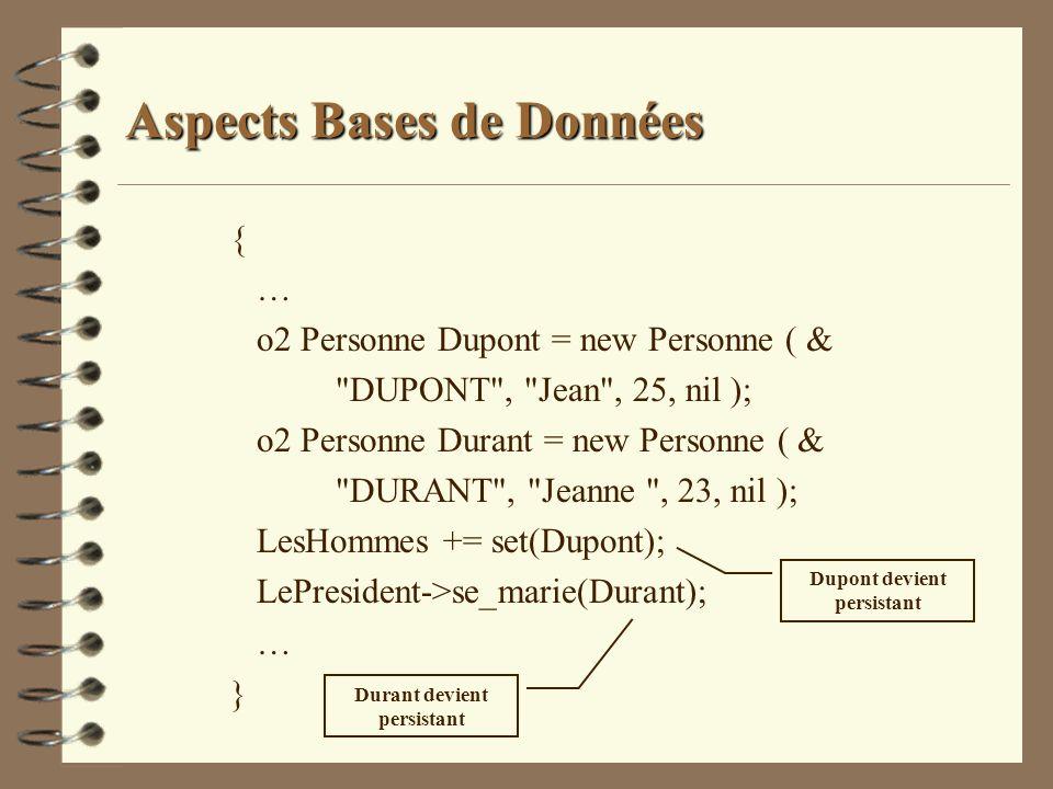 Aspects Bases de Données { … o2 Personne Dupont = new Personne ( &
