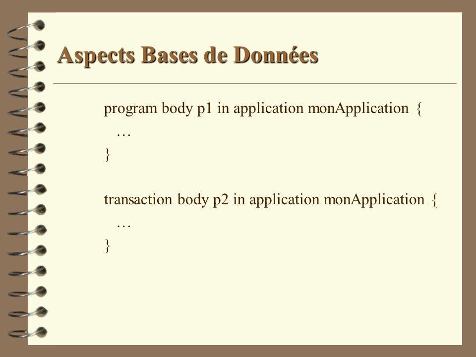 Aspects Bases de Données program body p1 in application monApplication { … } transaction body p2 in application monApplication { … }