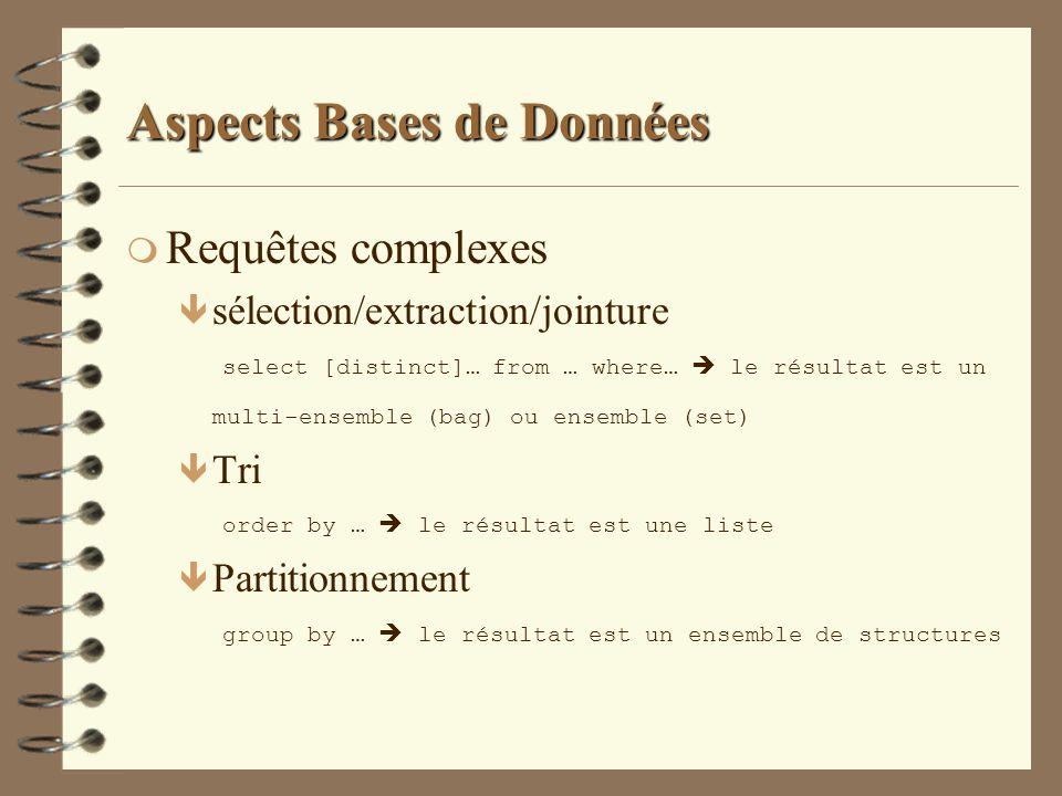 Aspects Bases de Données m Requêtes complexes sélection/extraction/jointure select [distinct]… from … where… le résultat est un multi-ensemble (bag) o