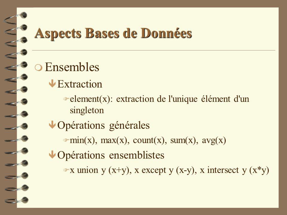 Aspects Bases de Données m Ensembles ê Extraction F element(x): extraction de l'unique élément d'un singleton ê Opérations générales F min(x), max(x),