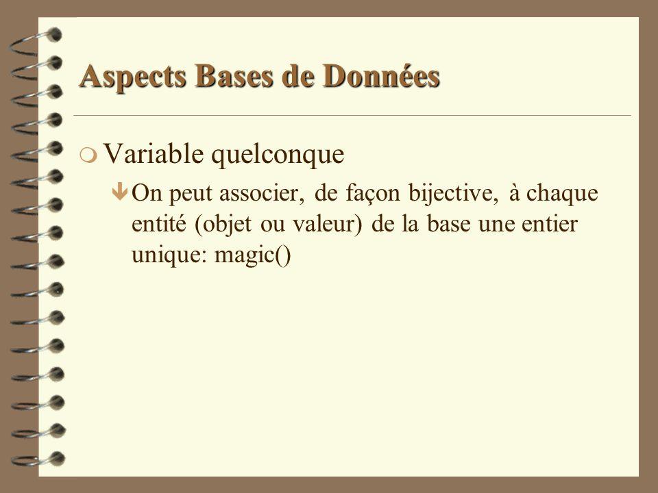 Aspects Bases de Données m Variable quelconque ê On peut associer, de façon bijective, à chaque entité (objet ou valeur) de la base une entier unique: