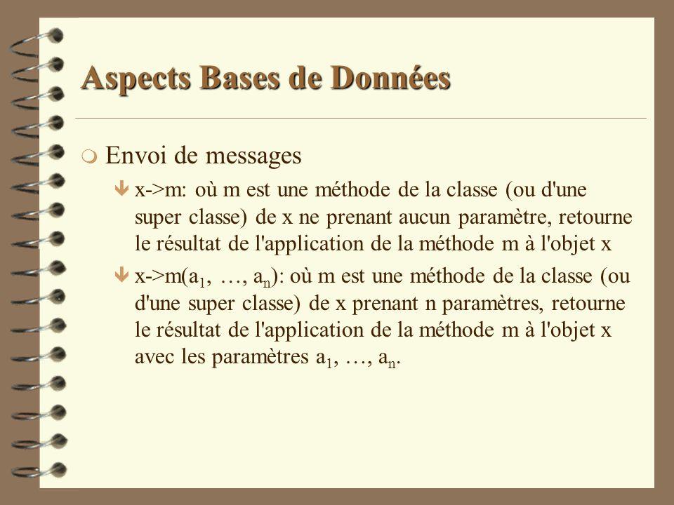 Aspects Bases de Données m Envoi de messages ê x->m: où m est une méthode de la classe (ou d'une super classe) de x ne prenant aucun paramètre, retour