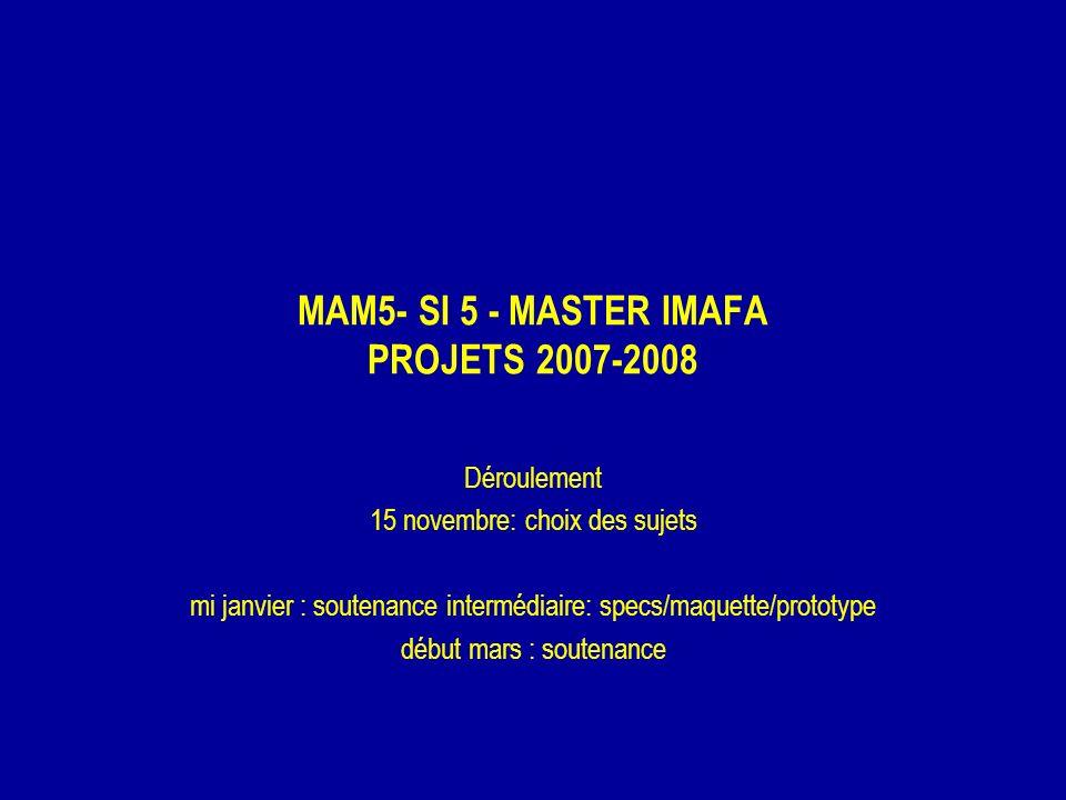 MAM5- SI 5 - MASTER IMAFA PROJETS 2007-2008 Déroulement 15 novembre: choix des sujets mi janvier : soutenance intermédiaire: specs/maquette/prototype