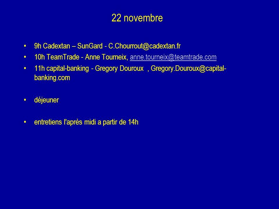 22 novembre 9h Cadextan – SunGard - C.Chourrout@cadextan.fr 10h TeamTrade - Anne Tourneix, anne.tourneix@teamtrade.comanne.tourneix@teamtrade.com 11h
