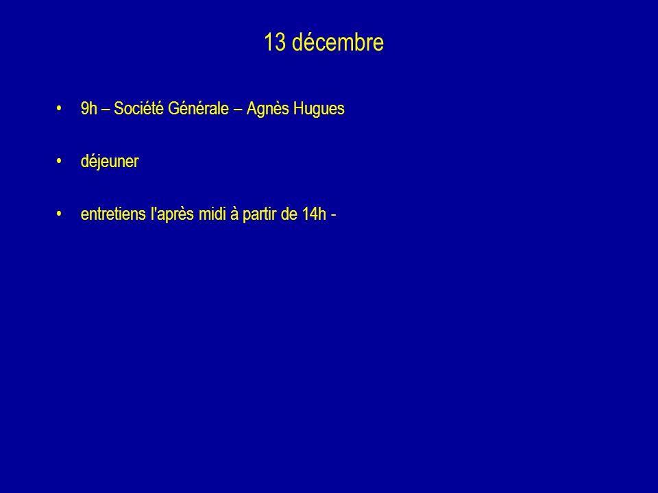 13 décembre 9h – Société Générale – Agnès Hugues déjeuner entretiens l'après midi à partir de 14h -