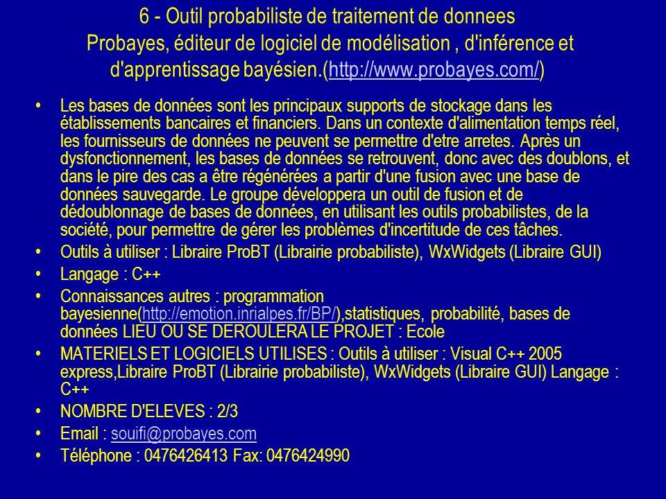 6 - Outil probabiliste de traitement de donnees Probayes, éditeur de logiciel de modélisation, d'inférence et d'apprentissage bayésien.(http://www.pro