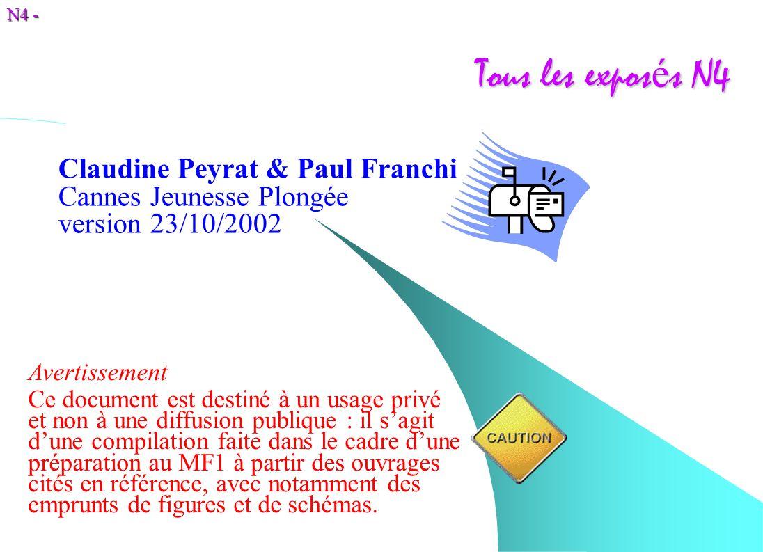 N4 - Tous les expos é s N4 Claudine Peyrat & Paul Franchi Cannes Jeunesse Plongée version 23/10/2002 Avertissement Ce document est destiné à un usage