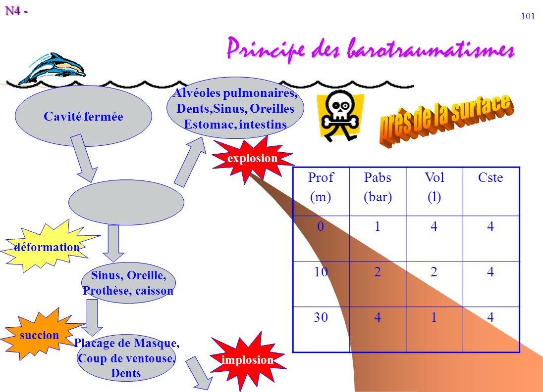 N4 - 101 Principe des barotraumatismes Prof (m) Pabs (bar) Vol (l) Cste 0144 10224 30414 Cavité fermée Sinus, Oreille, Prothèse, caisson implosion Pla