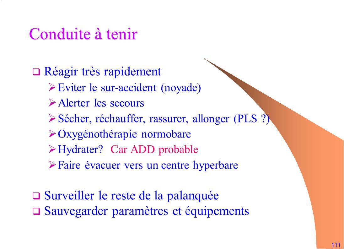 111 Conduite à tenir Réagir très rapidement Eviter le sur-accident (noyade) Alerter les secours Sécher, réchauffer, rassurer, allonger (PLS ?) Oxygéno