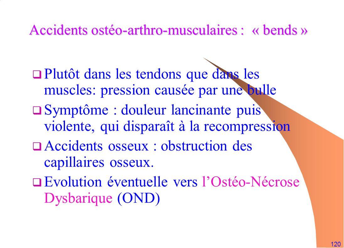 120 Accidents ostéo-arthro-musculaires : « bends » Plutôt dans les tendons que dans les muscles: pression causée par une bulle Symptôme : douleur lanc