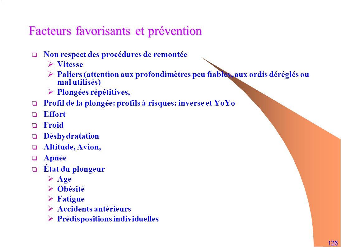 126 Facteurs favorisants et prévention Non respect des procédures de remontée Vitesse Paliers (attention aux profondimètres peu fiables, aux ordis dér