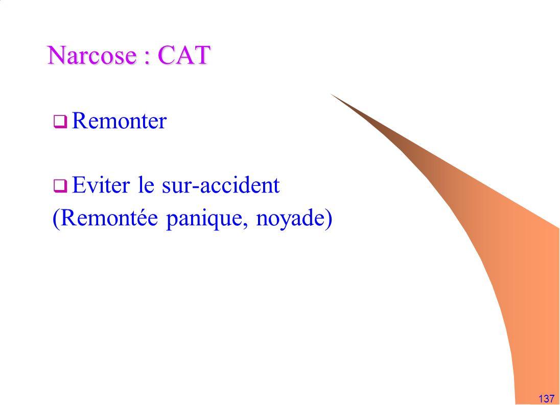 137 Narcose : CAT Remonter Eviter le sur-accident (Remontée panique, noyade)