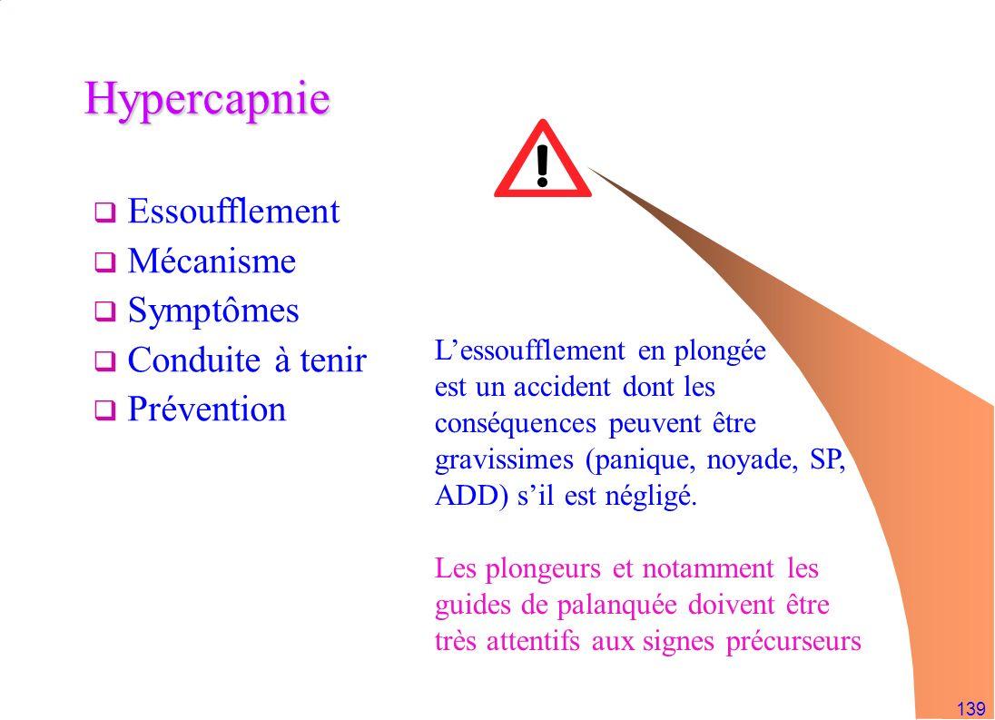 139 Hypercapnie Essoufflement Mécanisme Symptômes Conduite à tenir Prévention Lessoufflement en plongée est un accident dont les conséquences peuvent