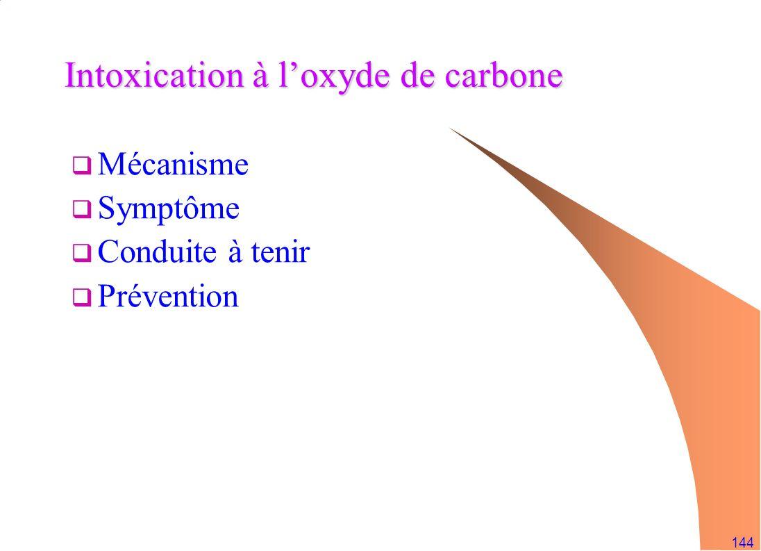 144 Intoxication à loxyde de carbone Mécanisme Symptôme Conduite à tenir Prévention