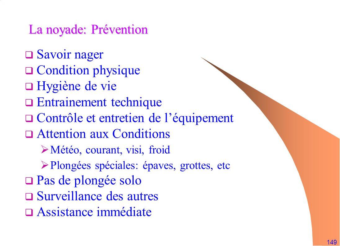 149 La noyade: Prévention Savoir nager Condition physique Hygiène de vie Entrainement technique Contrôle et entretien de léquipement Attention aux Con