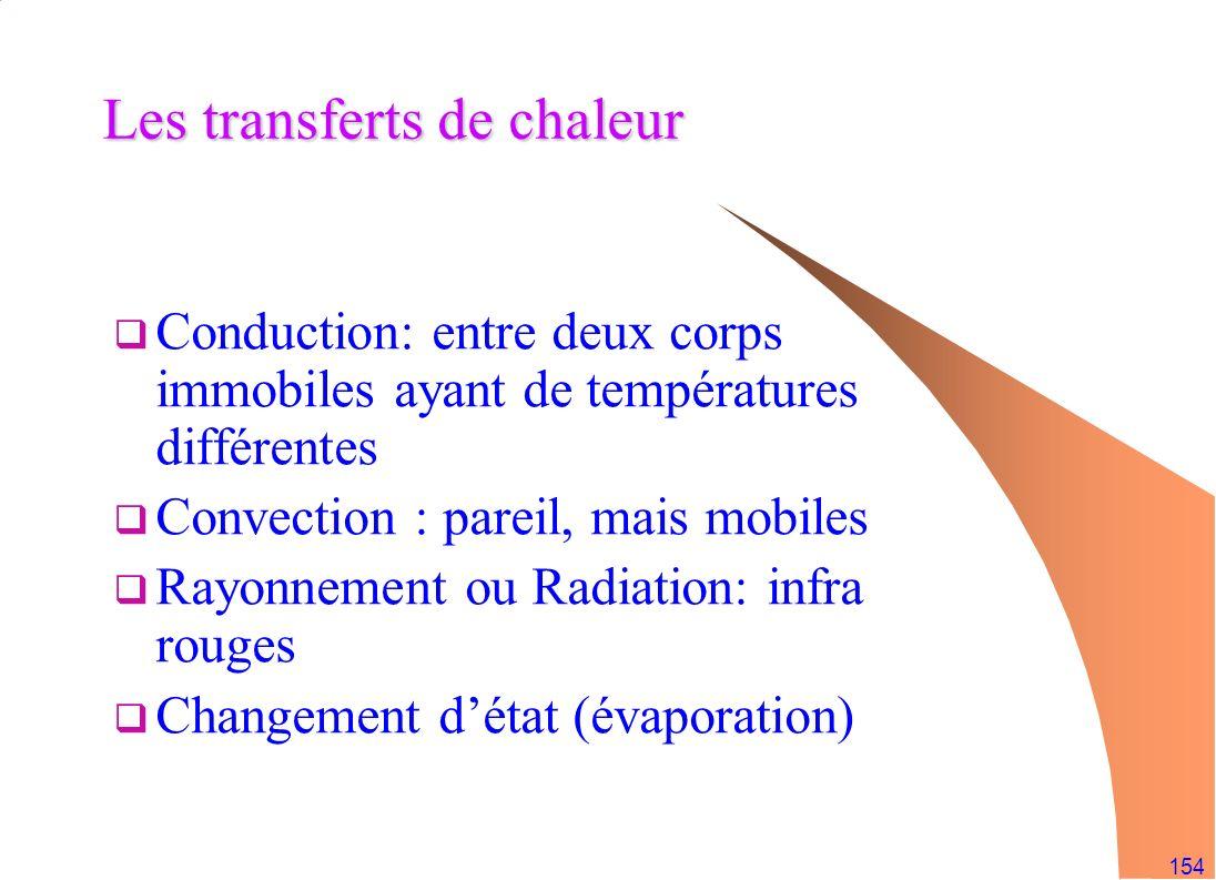 154 Les transferts de chaleur Conduction: entre deux corps immobiles ayant de températures différentes Convection : pareil, mais mobiles Rayonnement o