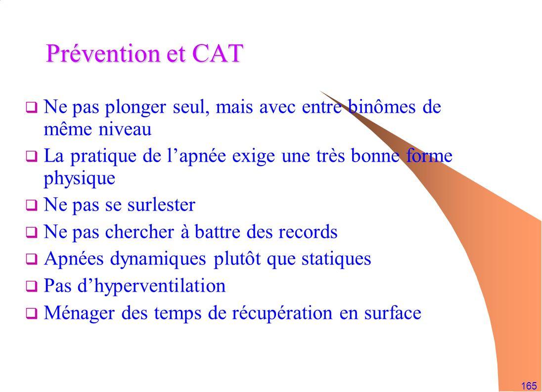165 Prévention et CAT Ne pas plonger seul, mais avec entre binômes de même niveau La pratique de lapnée exige une très bonne forme physique Ne pas se
