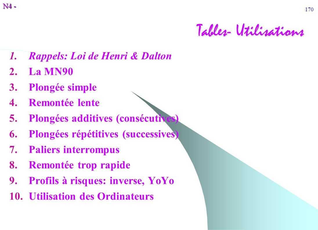 N4 - 170 Tables- Utilisations 1.Rappels: Loi de Henri & Dalton 2.La MN90 3.Plongée simple 4.Remontée lente 5.Plongées additives (consécutives) 6.Plong