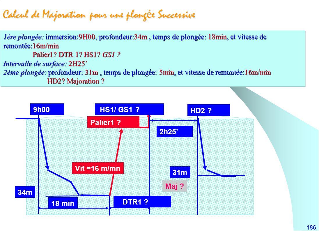 186 Calcul de Majoration pour une plong é e Successive 2h25 9h00 18 min DTR1 ? Vit =16 m/mn 34m 31m Palier1 ? HS1/ GS1 ? HD2 ? 1ère plongée: immersion