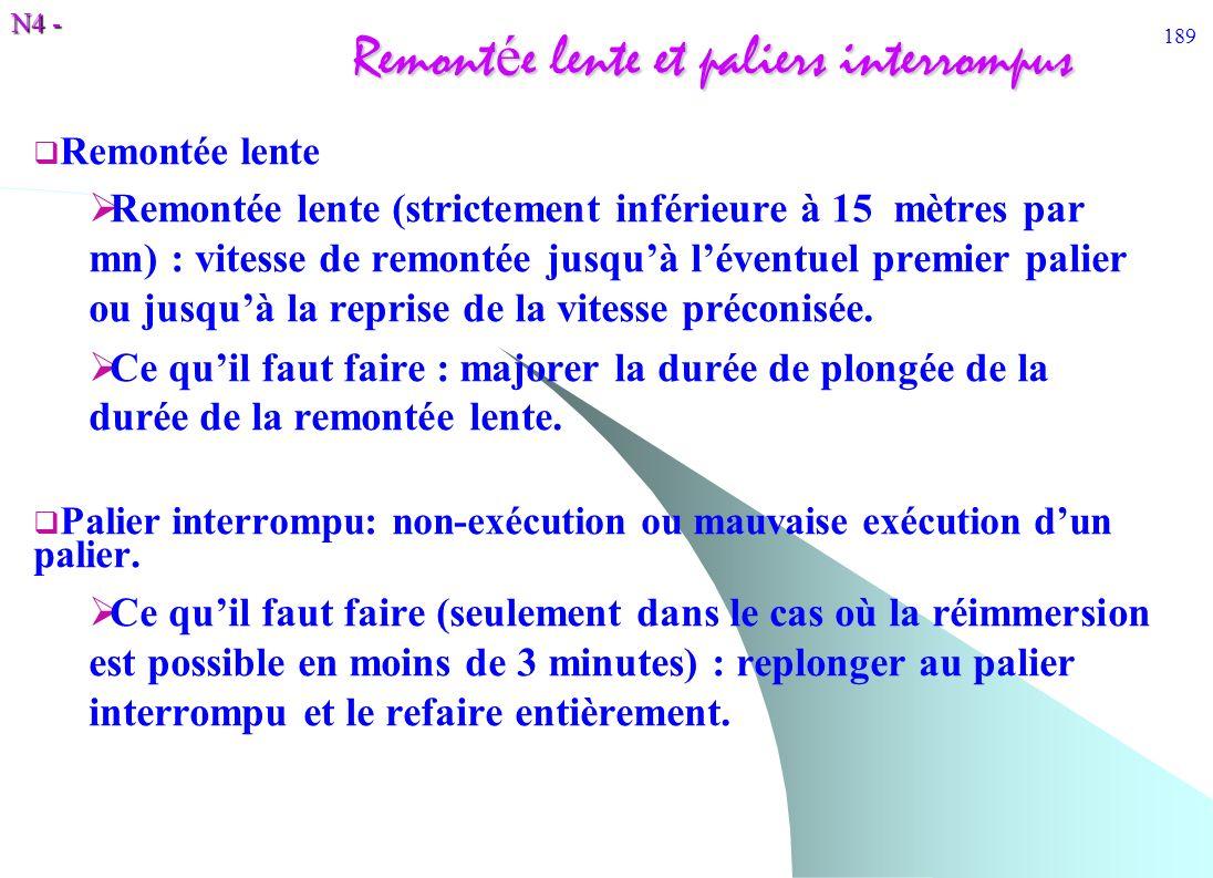 N4 - 189 Remont é e lente et paliers interrompus Remontée lente Remontée lente (strictement inférieure à 15 mètres par mn) : vitesse de remontée jusqu