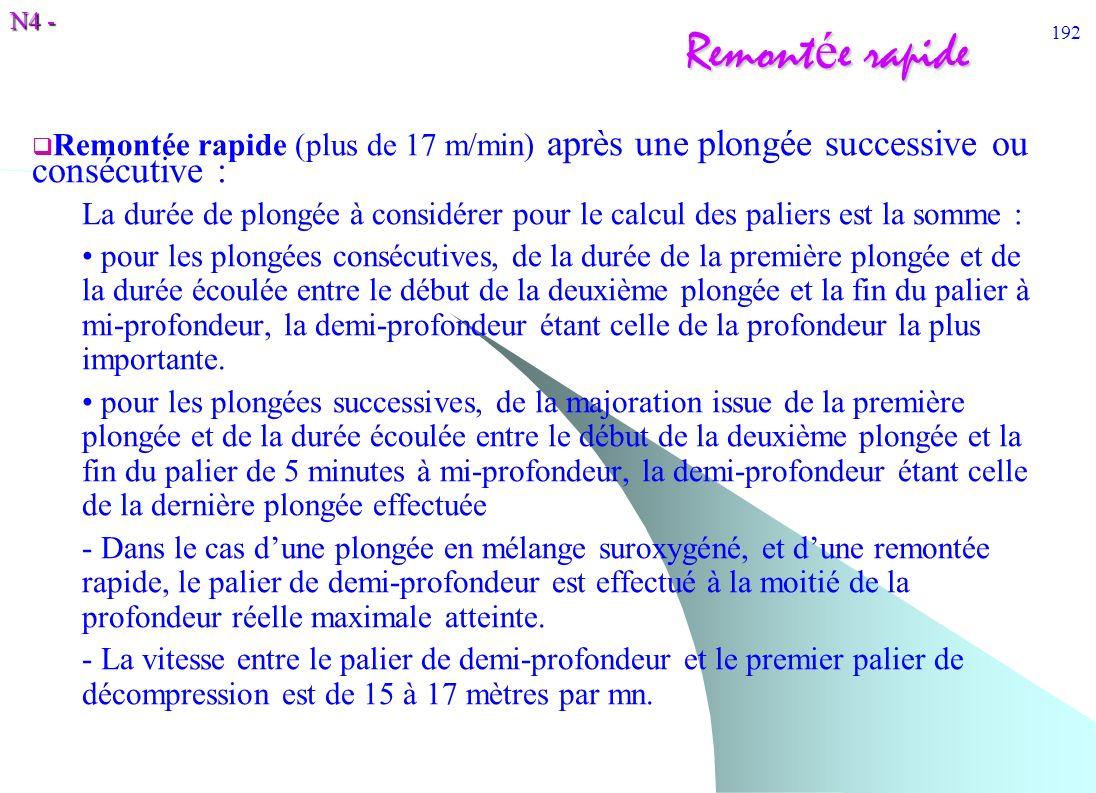 N4 - 192 Remont é e rapide Remontée rapide (plus de 17 m/min) après une plongée successive ou consécutive : La durée de plongée à considérer pour le c