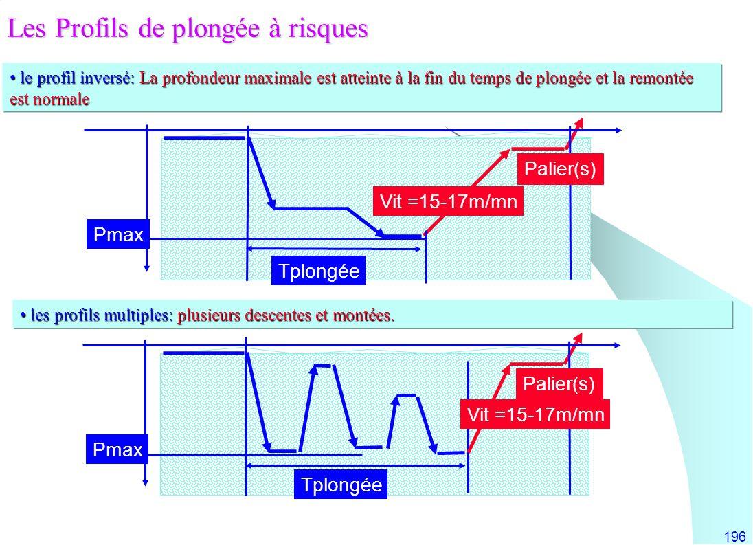 196 le profil inversé: La profondeur maximale est atteinte à la fin du temps de plongée et la remontée est normale le profil inversé: La profondeur ma