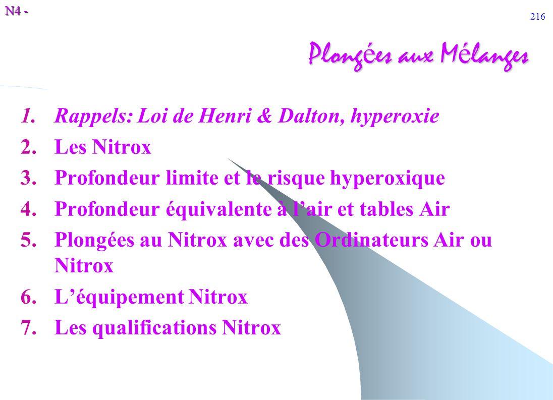 N4 - 216 Plong é es aux M é langes 1.Rappels: Loi de Henri & Dalton, hyperoxie 2.Les Nitrox 3.Profondeur limite et le risque hyperoxique 4.Profondeur