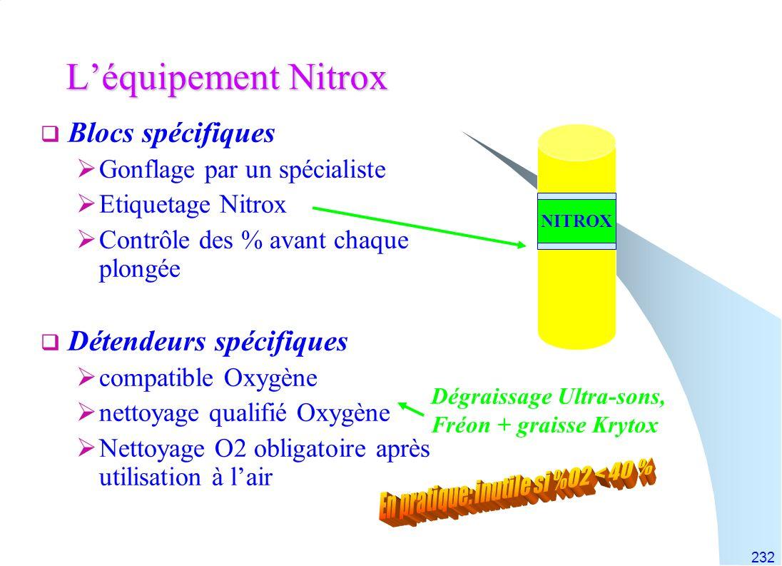 232 Léquipement Nitrox Blocs spécifiques Gonflage par un spécialiste Etiquetage Nitrox Contrôle des % avant chaque plongée Détendeurs spécifiques comp